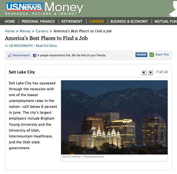 Salt Lake City Image Used on US News and World Reports
