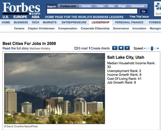 Forbes.com Salt Lake City Stock Image