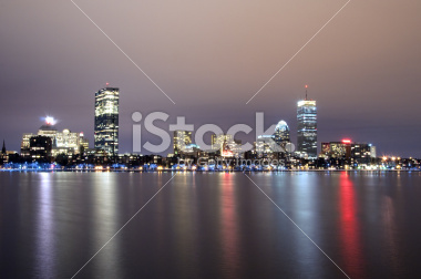 Boston Skyline at Night Stock Photograph