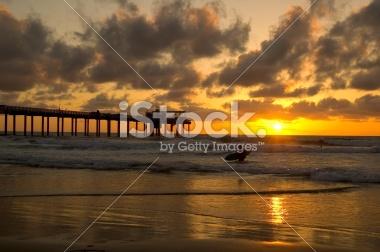 La Jolla Beach Surfer at Sunset
