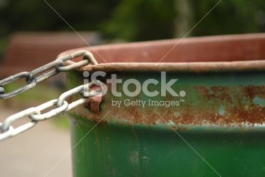 Chained Garbage Can in a Park