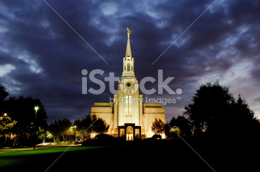 Boston Temple at Night